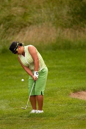 SPRINGFIELD, IL - JUNE 10: Christina Kim plays a chip shot during the first round of the LPGA State Farm Classic at Panther Creek Country Club on June 10, 2010 in Springfield, Illinois. (Photo by Darren Carroll/Getty Images)