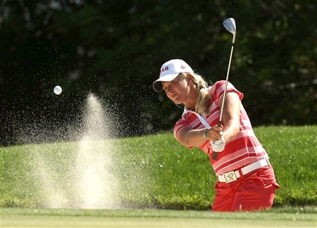 RANCHO MIRAGE, CA - APRIL 3:  Suzann Pettersen of Norway hits from a bunker on the 15th hole during the first round of the Kraft Nabisco Championship at Mission Hills Country Club on April 3, 2008 in Rancho Mirage, California.  (Photo by Stephen Dunn/Getty Images)