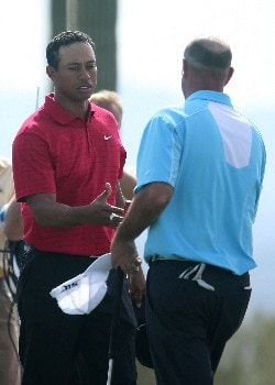 MARANA, AZ - FEBRUARY 24:  Tiger Woods shakes hands with Stewart Cink after defeating Cink 8&7 during the Championship match of the WGC-Accenture Match Play Championship at The Gallery at Dove Mountain on February 24, 2008 in Marana, Arizona.  (Photo by Scott Halleran/Getty Images)