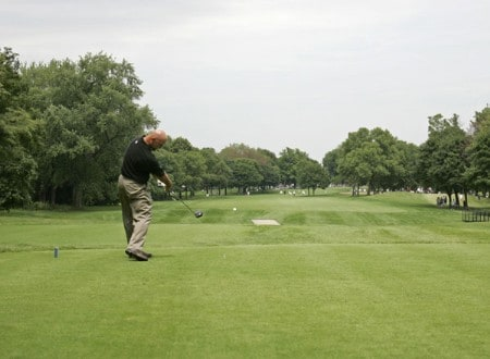 2005 US Bank Championship-Round 3: Marco Dawson tees off on the 6th hole during the 3rd round of the  2005 US Bank Championship at Brown Deer Park in Milwaukee, Wisconsin on July 23, 2005.Photo by Mike Ehrmann/WireImage.com