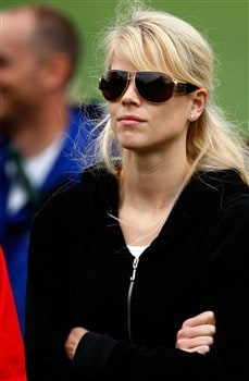 AUGUSTA, GA - APRIL 12:  Elin Woods watches the play of her husband Tiger Woods during the third round of the 2008 Masters Tournament at Augusta National Golf Club on April 12, 2008 in Augusta, Georgia.  (Photo by Jamie Squire/Getty Images)