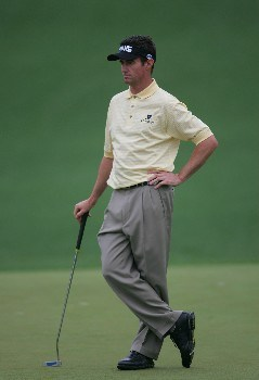 Mark Hensby patiently waits his turn during the second round of the 2005 Masters at Augusta National Golf Club in  Augusta, GA, April 9, 2005.