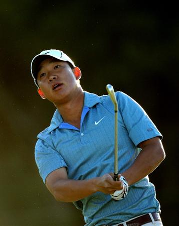 PERTH, AUSTRALIA - FEBRUARY 20:  Anthony Kim of USA plays his second shot at the 10th hole during the second round of the 2009 Johnnie Walker Classic tournament at the Vines Resort and Country Club, on February 20, 2009, in Perth, Australia  (Photo by David Cannon/Getty Images)