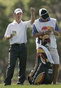Mike Weir and his caddie in action during the second round of the Bay Hill Invitational presented by MasterCard at the Bay Hill Club in Orlando, Florida on March 17, 2006.Photo by Michael Cohen/WireImage.com