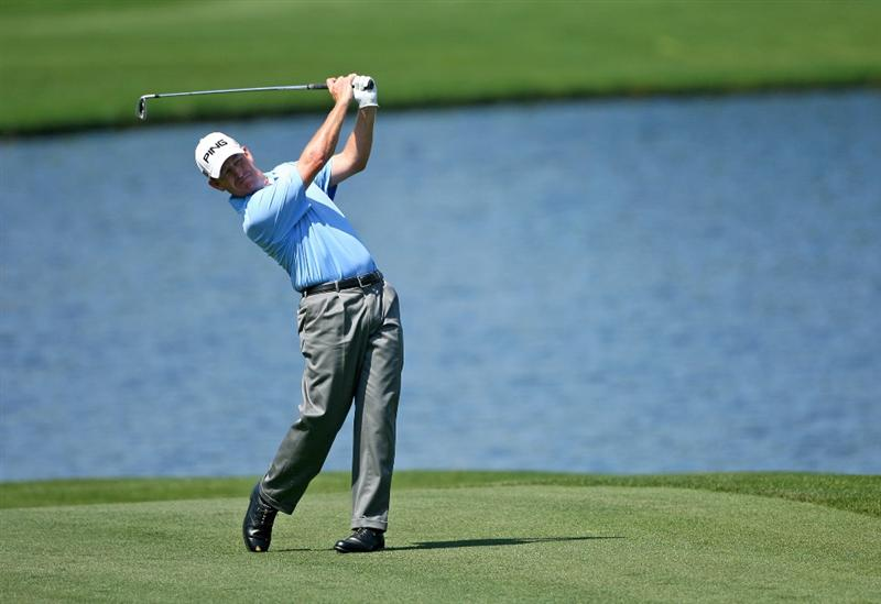 HUMBLE, TX - APRIL 3: Jeff Maggert hits his second shot on the fifth hole during the third round of the Shell Houston Open at Redstone Golf Club on April 3, 2010 in Humble, Texas. (Photo by Hunter Martin/Getty Images)