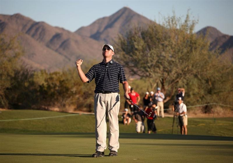 SCOTTSDALE, AZ - OCTOBER 25:  Troy Matteson celebrates winning the Frys.com Open following a fourth round 2 hole playoff at Grayhawk Golf Club on October 25, 2009 in Scottsdale, Arizona.  (Photo by Christian Petersen/Getty Images)