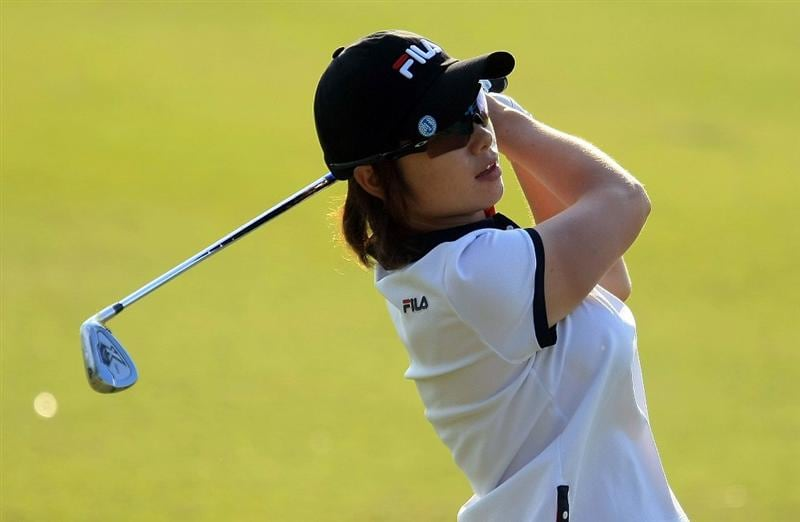 WEST PALM BEACH, FL - NOVEMBER 21:  Eun-Hee Ji of South Korea watches a shot on the 16th hole during the second round of the ADT Championship at the Trump International Golf Club on November 21, 2008 in West Palm Beach, Florida.  (Photo by Scott Halleran/Getty Images)