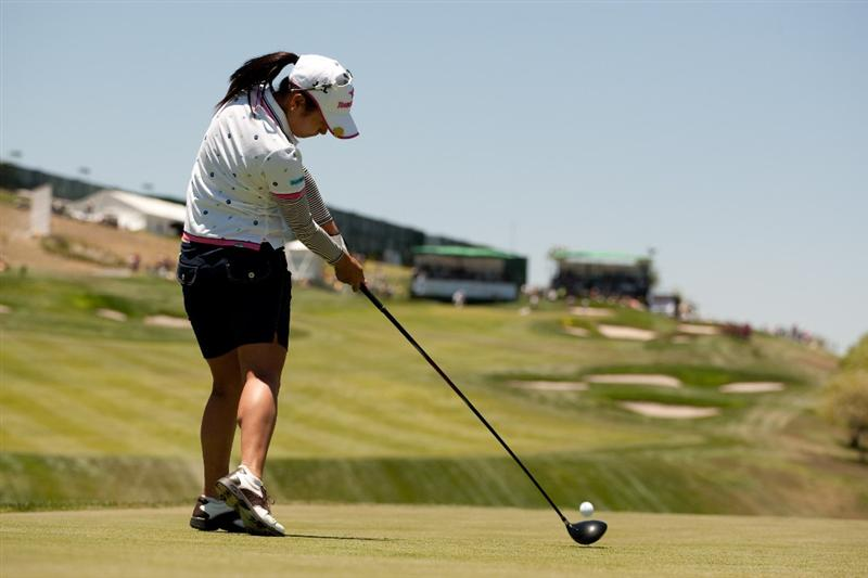 MORELIA, MEXICO - MAY 01: Ai Miyazato of Japan hits a tee shot at the ninth hole during the third round of the Tres Marias Championship at the Tres Marias Country Club on May 1, 2010 in Morelia, Mexico. (Photo by Darren Carroll/Getty Images)
