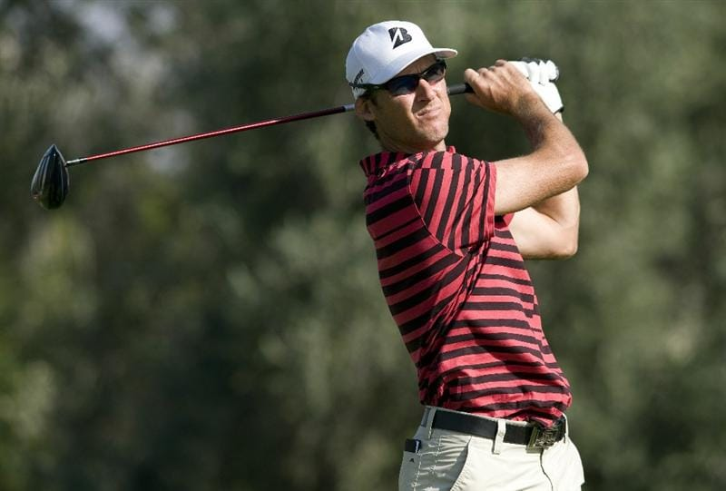 LAS VEGAS, NV - OCTOBER 23: Will MacKenzie hits his tee shot on the 16th hole during the third round of the Justin Timberlake Shriners Hospitals for Children Open on October 23, 2010 in Las Vegas, Nevada. (Photo by Steve Dykes/Getty Images)