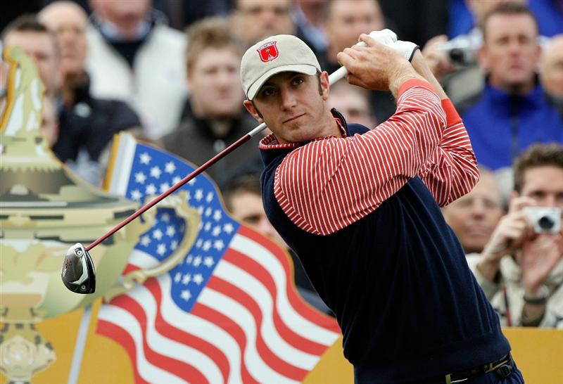 NEWPORT, WALES - SEPTEMBER 30:  Dustin Johnson of the USA tees off during a practice round prior to the 2010 Ryder Cup at the Celtic Manor Resort on September 30, 2010 in Newport, Wales.  (Photo by Sam Greenwood/Getty Images)