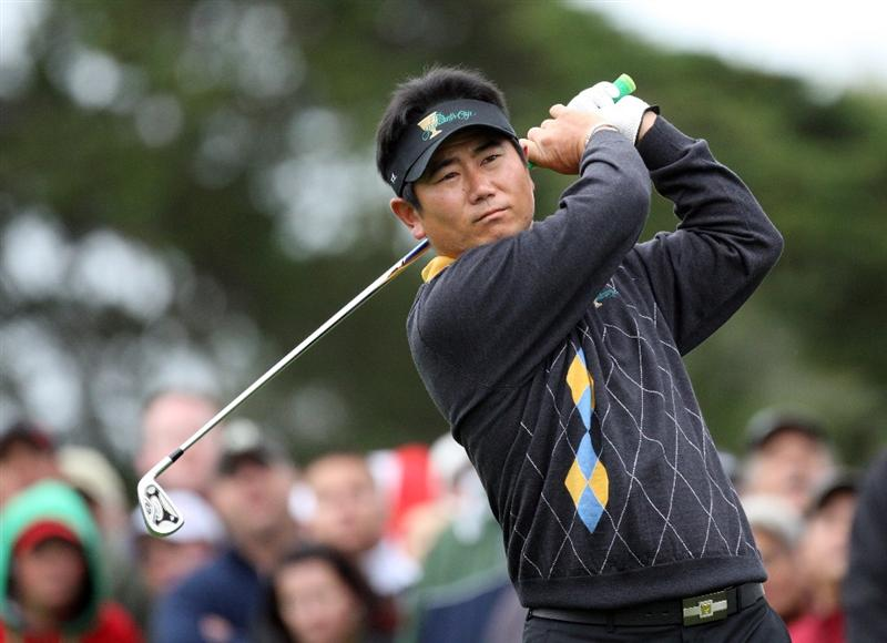 SAN FRANCISCO - OCTOBER 11:  Y.E.Yang of South Korea and the International Team on the tee at the 2nd hole during the Day Four Singles Matches in The Presidents Cup at Harding Park Golf Course on October 10, 2009 in San Francisco, California  (Photo by David Cannon/Getty Images)