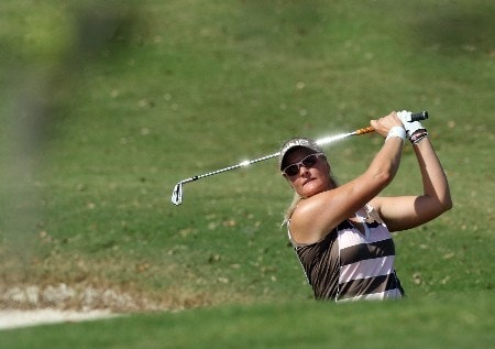 WEST PALM BEACH, FL - NOVEMBER 15:  Maria Hjorth of Sweden hits hits her second shot at the 1st hole during the first round of the 2007 ADT Championship held at the Trump International Golf Course, on November 15, 2007 in West Palm Beach, Florida.  (Photo by David Cannon/Getty Images)