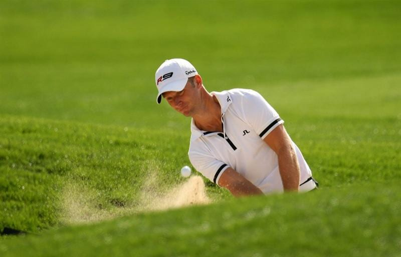 LA QUINTA, CA - JANUARY 22:  Richard Johnson of Sweden hits from a bunker on the second hole on the Palmer Private Course at PGA West duing the first round of the Bob Hope Chrysler Classic on January 22, 2009 in La Quinta, California.  (Photo by Stephen Dunn/Getty Images)