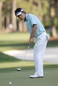 Kevin Na follows the line of his putt on the 8th green during the second round of the 2007 Verizon Heritage Classic at Harbour Town Golf Links in Hilton Head Island on April 13, 2007 in Hilton Head, South Carolina. PGA TOUR - 2007 Verizon Heritage - Second RoundPhoto by Steve Grayson/WireImage.com
