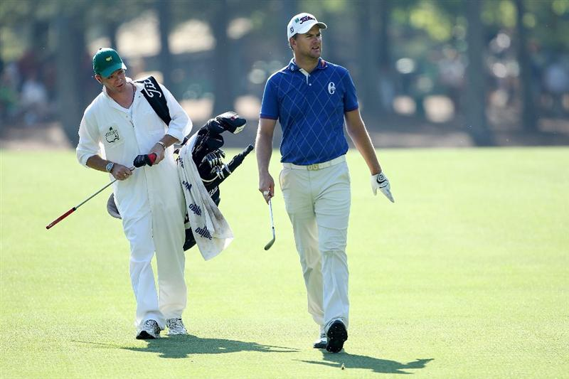 AUGUSTA, GA - APRIL 06:  Robert Karlsson of Sweden walks with his caddie Gareth Lord during a practice round prior to the 2010 Masters Tournament at Augusta National Golf Club on April 6, 2010 in Augusta, Georgia.  (Photo by Andrew Redington/Getty Images)