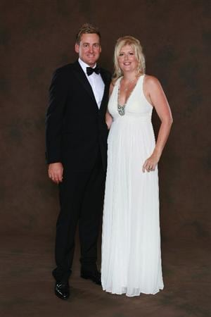 NEWPORT, WALES - SEPTEMBER 29:  Ian Poulter of the European Ryder Cup team poses with his wife Katie prior to the 2010 Ryder Cup Dinner at the Celtic Manor Resort on September 29, 2010 in Newport, Wales.  (Photo by David Cannon/Getty Images)