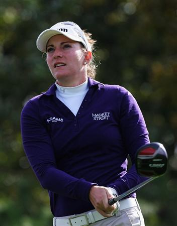 INCHEON, SOUTH KOREA - NOVEMBER 02:  Brittany Lang of the United States plays her tee shot on the 2nd hole during round three of the Hana Bank KOLON Championship at Sky72 Golf Club on November 2, 2008 in Incheon, South Korea.  (Photo by Chung Sung-Jun/Getty Images)