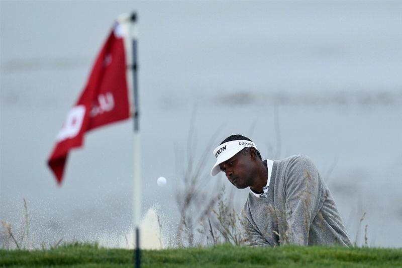 PEBBLE BEACH, CA - JUNE 18:  Vijay Singh of Fiji plays out of a bunker on the eighth hole during the second round of the 110th U.S. Open at Pebble Beach Golf Links on June 18, 2010 in Pebble Beach, California.  (Photo by Stephen Dunn/Getty Images)