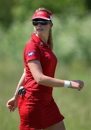 SPRINGFIELD, IL - JUNE 05:  Paula Creamer walks on the eighth hole fairway during the second round of the LPGA State Farm Classic golf tournament at Panther Creek Country Club on June 5, 2009 in Springfield, Illinois.  (Photo by Christian Petersen/Getty Images)