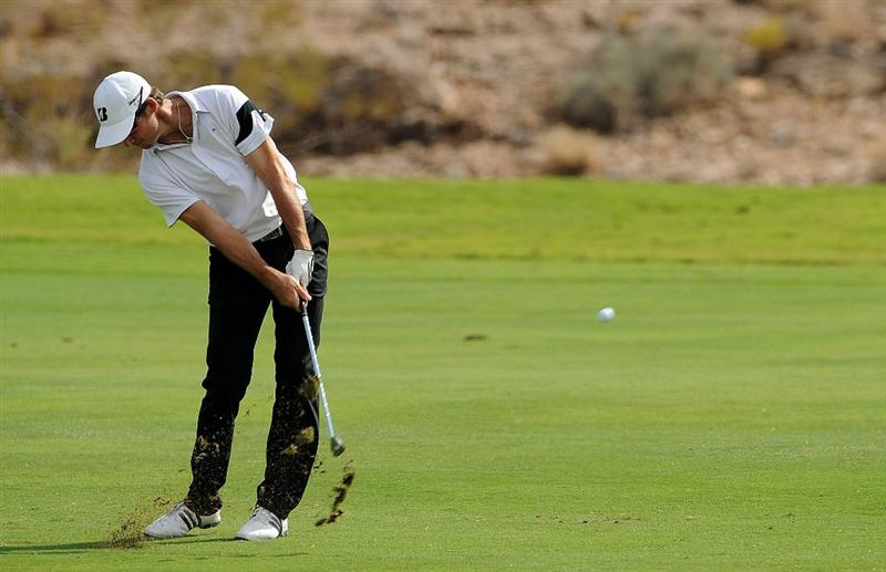 LAS VEGAS, NV - OCTOBER 21: Will MacKenzie hits his approach shot on the 18th hole during the first round of the Justin Timberlake Shriners Hospitals for Children Openon October 21, 2010 in Las Vegas, Nevada. (Photo by Steve Dykes/Getty Images)