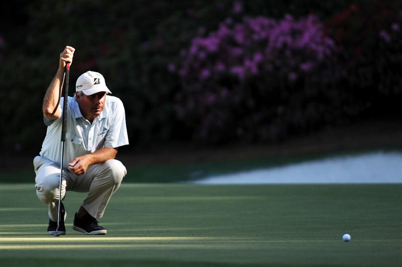 AUGUSTA, GA - APRIL 11:  Fred Couples lines up a putt on the 13th green during the final round of the 2010 Masters Tournament at Augusta National Golf Club on April 11, 2010 in Augusta, Georgia.  (Photo by Harry How/Getty Images)