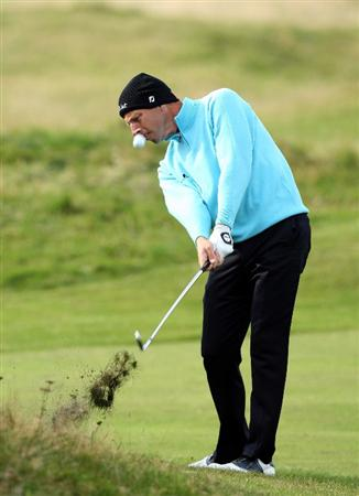 CARNOUSTIE, SCOTLAND - OCTOBER 01:  Soren Hansen of Denmark plays his second shot to the 15th hole during the first round of The Alfred Dunhill Links Championship at Carnoustie Golf Club on October 1, 2009 in Carnoustie, Scotland.  (Photo by David Cannon/Getty Images)