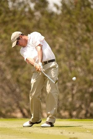 SAN ANTONIO, TX - APRIL 16: Rich Beem follows through on a tee shot during the third round of the Valero Texas Open at the AT&T Oaks Course at TPC San Antonio on April 16, 2011 in San Antonio, Texas. (Photo by Darren Carroll/Getty Images)
