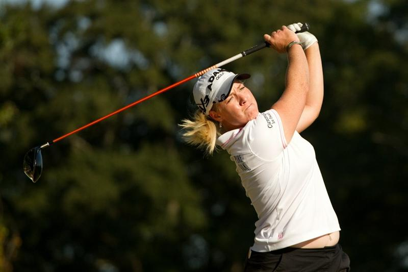 PRATTVILLE, AL - OCTOBER 9: Brittany Lincicome follows through on a tee shot during the third round of the Navistar LPGA Classic at the Senator Course at the Robert Trent Jones Golf Trail on October 9, 2010 in Prattville, Alabama. (Photo by Darren Carroll/Getty Images)