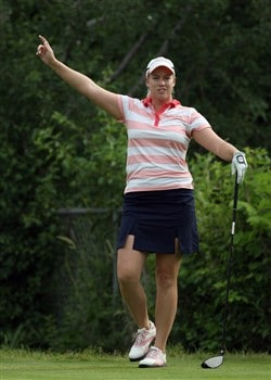 EDINA, MN - JUNE 26:  Brittany Lincicome tees off at the 13th hole during the first round of the 2008 U.S. Women's Open Championship held at Interlachen Country Club on June 26, 2008 in Edina, Minnesota.  (Photo by David Cannon/Getty Images)