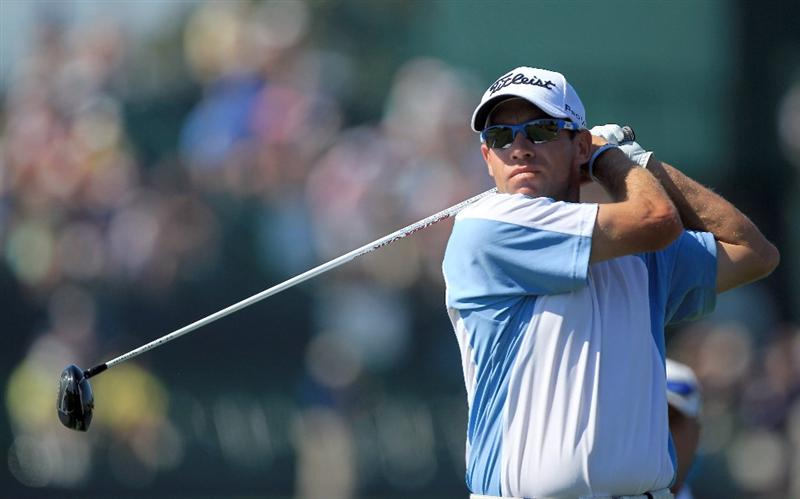 ORLANDO, FL - MARCH 25:  Brian Davis of England tees off at the 16th hole during the second round of the 2011 Arnold Palmer Invitational presented by Mastercard at the Bay Hill Lodge and Country Club on March 25, 2011 in Orlando, Florida.  (Photo by David Cannon/Getty Images)