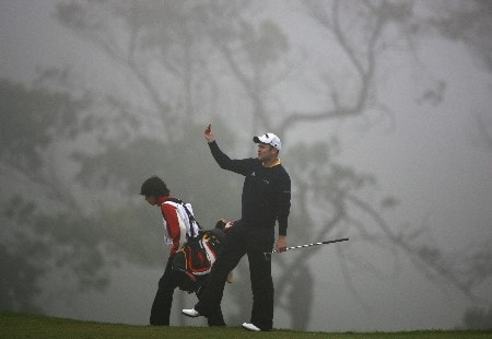 MADEIRA, PORTUGAL - MARCH 23:  Alastair Forsyth of Scotland checks the wind on the 17th hole in thick fog during the final round of the Madeira Islands Open BPI 2008 at Clube De Golf Santo Da Serra on March 23, 2008 in Madeira, Portugal.  (Photo by Ryan Pierse/Getty Images)