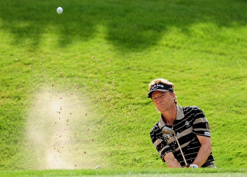 COLOGNE, GERMANY - SEPTEMBER 11:  Bernhard Langer of Germany plays his bunker shot on the sixth hole during the second round of The Mercedes-Benz Championship at The Gut Larchenhof Golf Club on September 11, 2009 in Cologne, Germany.  (Photo by Stuart Franklin/Getty Images)