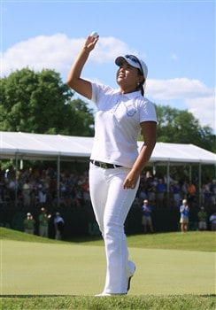 EDINA, MN - JUNE 29:  InBee Park of Korea celebrates winning during the final round of the 2008 U.S. Women's Open at Interlachen Country Club on June 29, 2008 in Edina, Minnesota.  (Photo by Travis Lindquist/Getty Images)