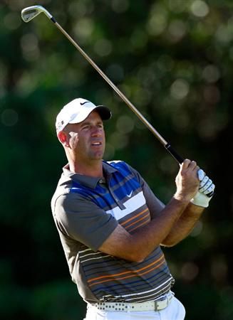 LAKE BUENA VISTA, FL - NOVEMBER 11:  Stewart Cink plays a shot on the 9th hole during the first round of the Children's Miracle Network Classic at the Disney Palm and Magnolia courses on November 11, 2010 in Lake Buena Vista, Florida.  (Photo by Sam Greenwood/Getty Images)