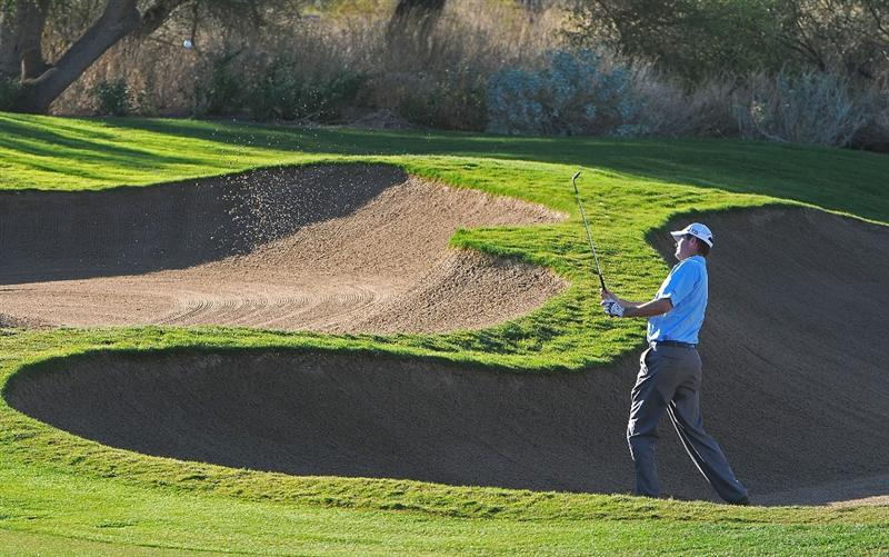 SCOTTSDALE, AZ - OCTOBER 24:  Brad Elder hits out of the greenside bunker on the 7th hole during the second round of  the Fry's.Com Open held at Grayhawk Golf Club on October 24, 2008 in Scottsdale, Arizona. (Photo by Marc Feldman/Getty Images)