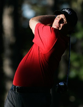 PEBBLE BEACH, CA - FEBRUARY 08:  Phil Mickelson hits a tee shot on the ninth hole during the second round of the AT&T Pebble Beach National Pro-Am at the Pebble Beach Golf Links on February 8, 2008 in Pebble Beach, California.  (Photo by Jeff Gross/Getty Images)
