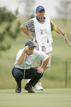Paul Gow lines up a putt on the 12th hole during the final round of the LaSalle Bank Open being held at the The Glen Club in Glenview, Illinois, June 12, 2005.Photo by Mike Ehrmann/WireImage.com