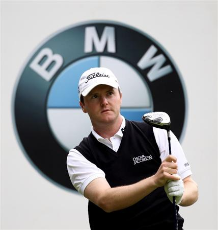 VIRGINIA WATER, ENGLAND - MAY 18:  Michael Hoey of Northern Ireland tees off during a practice round at Wentworth prior to the BMW PGA Championship on May 18, 2010 in Virginia Water, England.  (Photo by Ross Kinnaird/Getty Images)