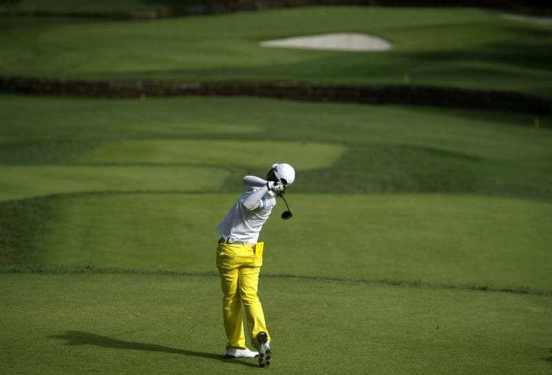 ROGERS, AR - SEPTEMBER 11:  Eun-Hee Ji of South Korea makes a tee shot on the sixth hole during the second round of the P&G NW Arkansas Championship at the Pinnacle Country Club on September 11, 2010 in Rogers, Arkansas.  (Photo by Robert Laberge/Getty Images)