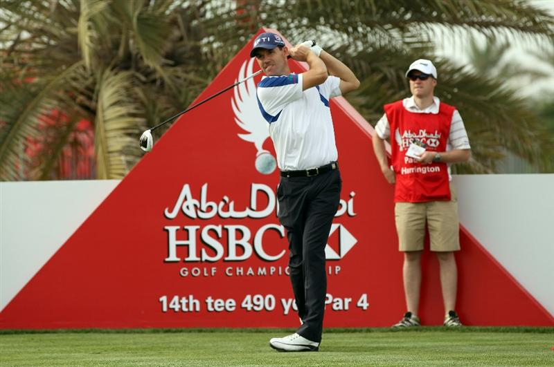 ABU DHABI, UNITED ARAB EMIRATES - JANUARY 19: Padraig Harrington of Ireland during the pro-am event prior to the Abu Dhabi HSBC Golf Championship at the Abu Dhabi Golf Club on January 19, 2011 in Abu Dhabi, United Arab Emirates.  (Photo by Ross Kinnaird/Getty Images)