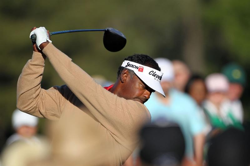 AUGUSTA, GA - APRIL 06:  Vijay Singh of Fiji hits a shot during a practice round prior to the 2011 Masters Tournament at Augusta National Golf Club on April 6, 2011 in Augusta, Georgia.  (Photo by Jamie Squire/Getty Images)