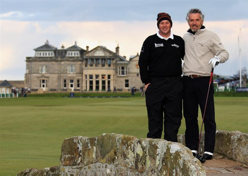 ST. ANDREWS, UNITED KINGDOM - OCTOBER 02:  Emanuele Canonica of Italy and his playing partner Roberto Donadoni, former Italian football coach pose on the Swilcan Bridge during the first round of The Alfred Dunhill Links Championship at The Old Course on October 2, 2008 in St.Andrews, Scotland. (Photo by Warren Little/Getty Images)