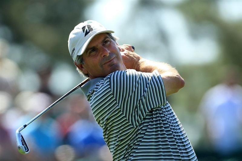 AUGUSTA, GA - APRIL 06:  Fred Couples hits a shot during a practice round prior to the 2010 Masters Tournament at Augusta National Golf Club on April 6, 2010 in Augusta, Georgia.  (Photo by David Cannon/Getty Images)