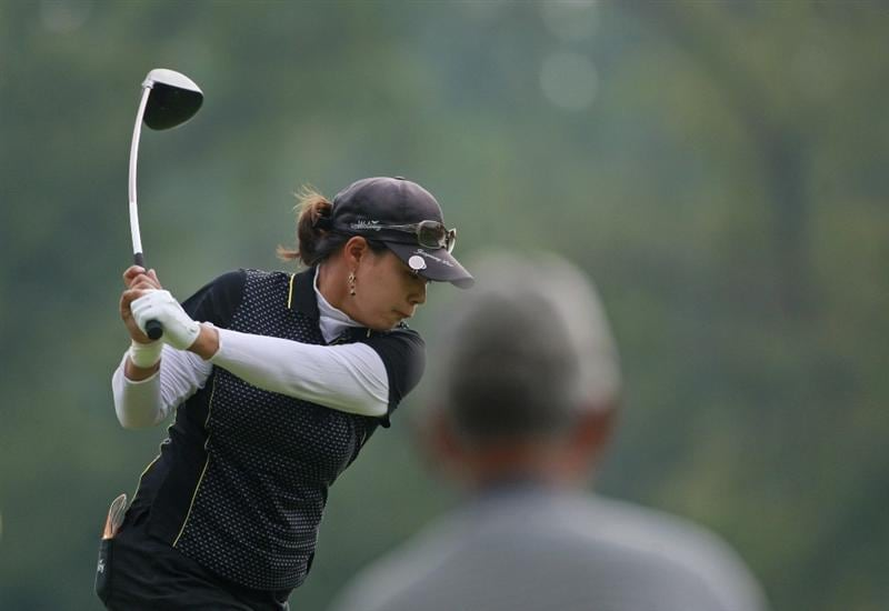 ROGERS, AR - SEPTEMBER 12:  Jee Young Lee of South Korea tees off on the eighth hole during second round play in the P&G Beauty NW Arkansas Championship at the Pinnacle Country Club on September 12, 2009 in Rogers, Arkansas.  (Photo by Dave Martin/Getty Images)