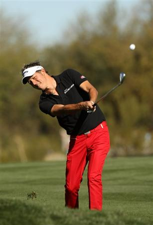 SCOTTSDALE, AZ - JANUARY 31:  Fredrik Jacobson of Sweden hits his second shot on the second hole during the third round of the FBR Open on January 31, 2009 at TPC Scottsdale in Scottsdale, Arizona.  (Photo by Stephen Dunn/Getty Images)