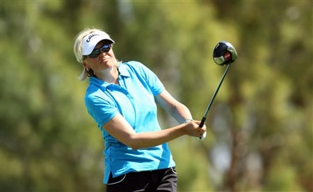RANCHO MIRAGE, CA - APRIL 04: Liselotte Neumann of Sweden tees off at the 11th hole during the second round of the Kraft Nabisco Championship at the Mission Hills Country Club on April 4, 2008 in Rancho Mirage, California.  (Photo by David Cannon/Getty Images)
