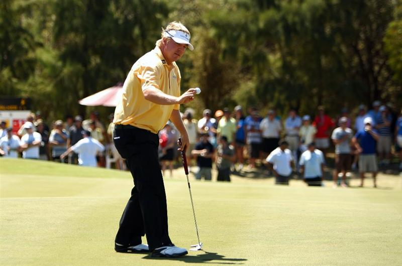 PERTH, AUSTRALIA - FEBRUARY 22:  Ross McGowan of England acknow;edges the crowd after a putt during round four of the 2009 Johnnie Walker Classic at The Vines Resort and Country Club on February 22, 2009 in Perth, Australia.  (Photo by Ian Walton/Getty Images)