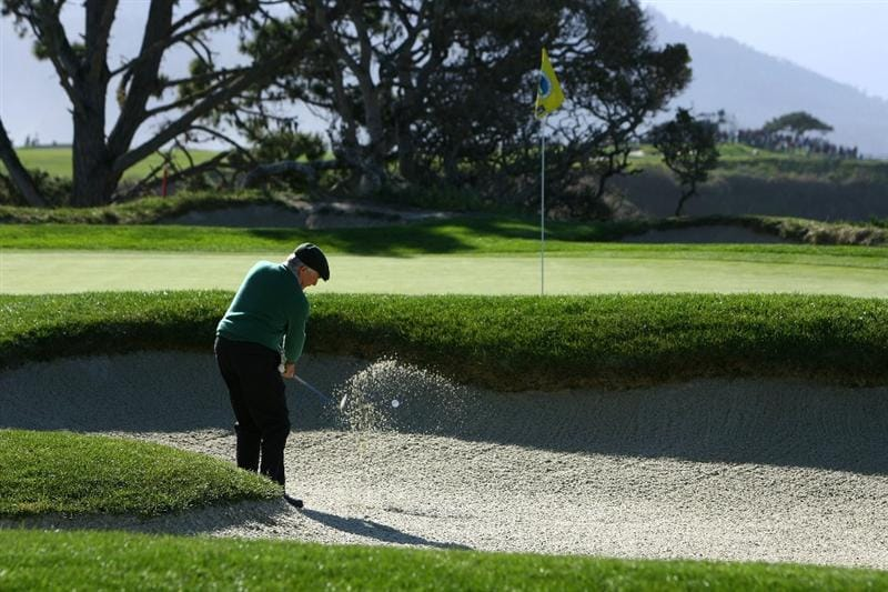 PEBBLE BEACH, CA - FEBRUARY 14: Charles Schwab hits a bunker shot on the fourth hole during the third round of the AT&T Pebble Beach National Pro-Am at the Pebble Beach Golf Links on February 14, 2009 in Pebble Beach, California. (Photo by Jeff Gross/Getty Images)