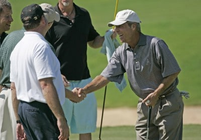 Ben Crenshaw on shakes hands with his amateur partners on #18 during the Thursday Pro-Am at the 2006 Mastercard Championship  at Hualalai resort,  Kona, Hawaii.Photo by: Chris Condon/PGA TOUR