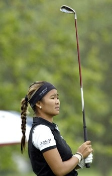 Jennifer Rosales watches her iron shot during the first round of the 2005 Wegman's Rochester LPGA at Locust Hill Country Club in  Pittsford, New York on June 16, 2005.Photo by Michael Cohen/WireImage.com